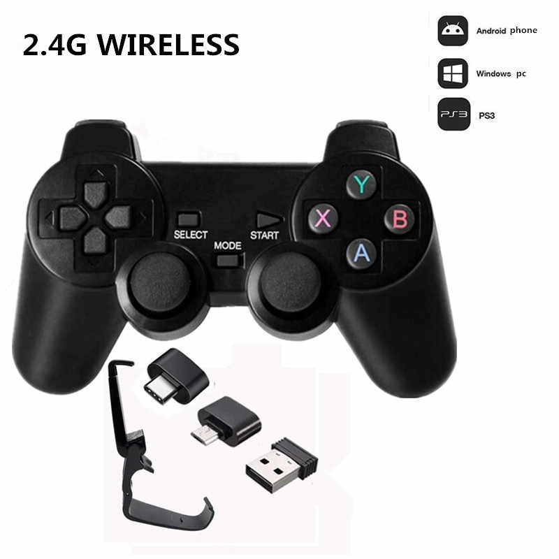 2.4G Draadloze Game Controller Joystick Met Micro Usb Otg Adapter Voor Android Tv Box Voor Pc PS3 Gamepad