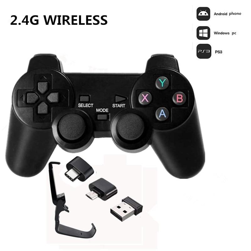 Беспроводной игровой контроллер 2,4G, джойстик с адаптером OTG Micro USB для Android TV Box для ПК PS3, геймпад