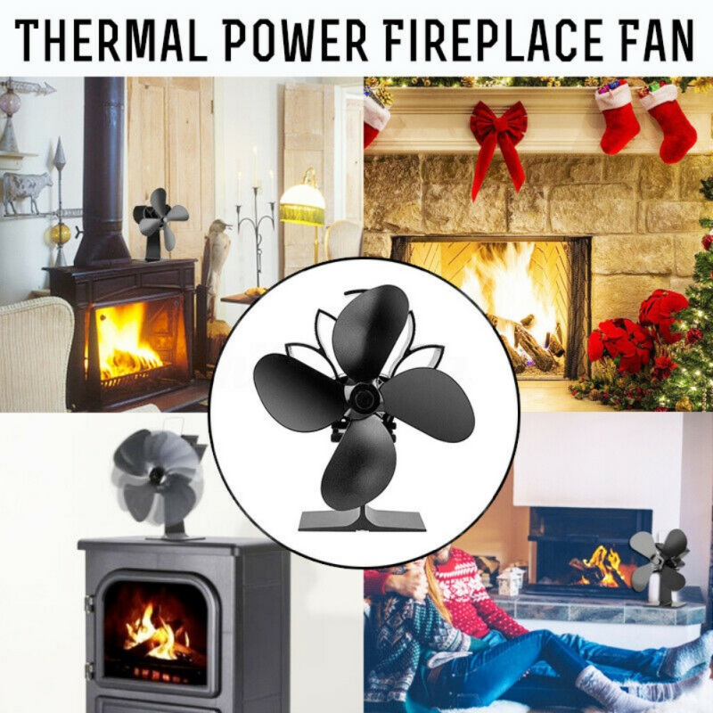 4 Blades Heat Powered Fireplace Fan Silent Operation Eco-Friendly Stove Fan For Wood Burning And Circulating Warm