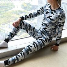 Sleepwear Thermal-Underwear-Set Leggings Long-Johns Printed Men New Thicken Sexy