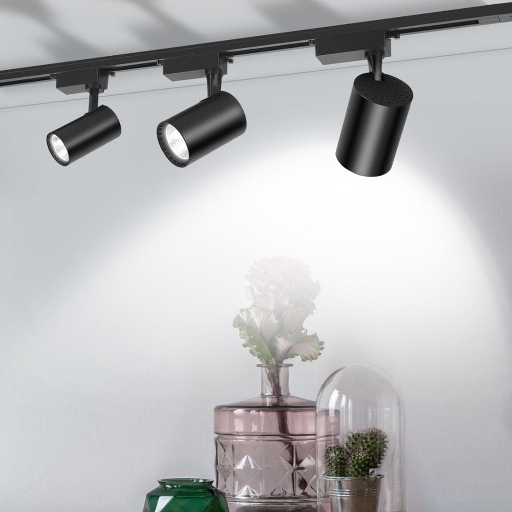 LED éclairage sur Rail 12/20/30/40W COB Rail lumières projecteur lampe aluminium Rail luminaire magasin fenêtre affichage éclairage 220V