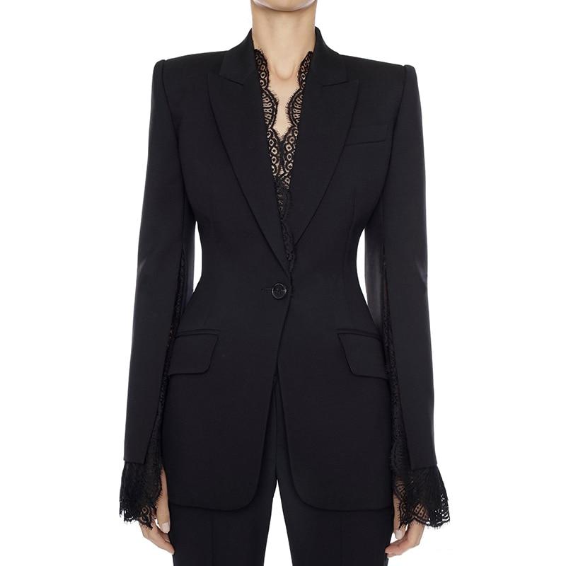 HIGH STREET 2020 New Stylish Designer Blazer Jacket Women's Lace Fringe Slit Sleeve One Button Blazer
