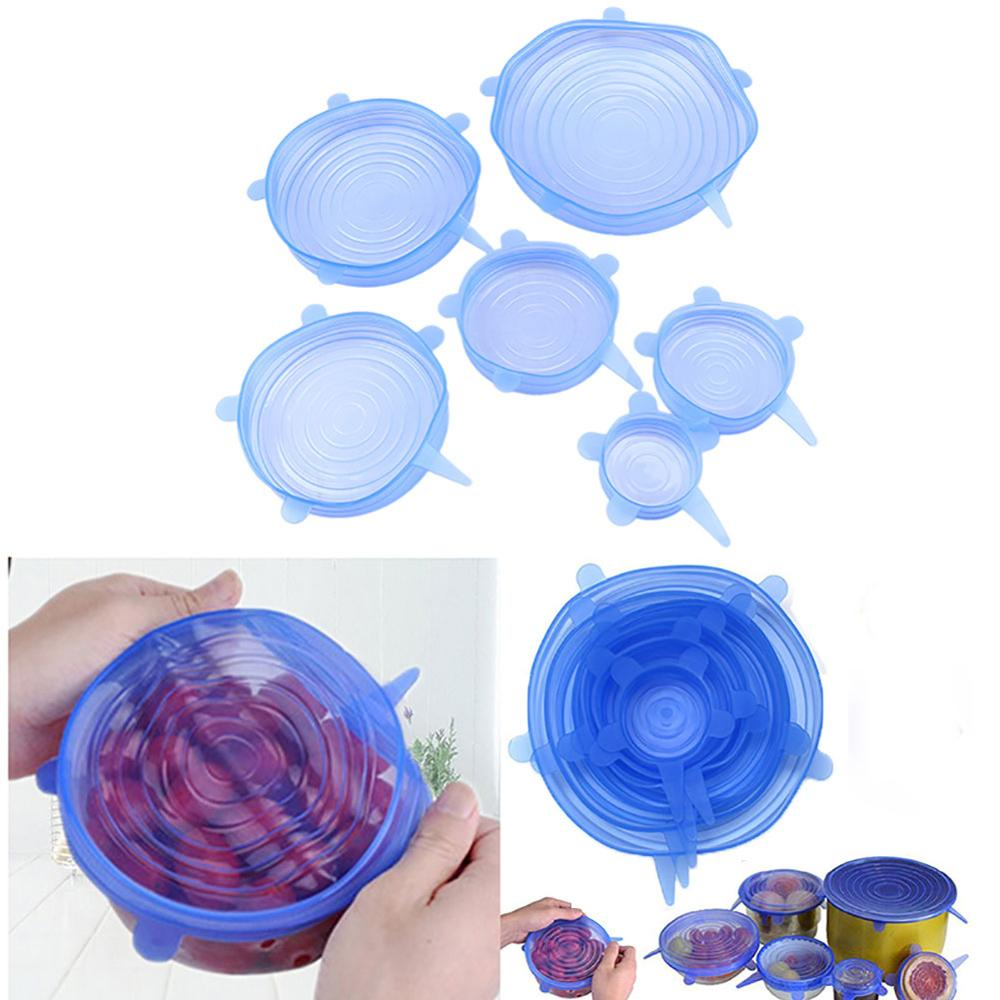 Kitchen Accessories 6Pcs/Set Bowl Cover Silicone Stretch Kitchen Fruit Food Bowl Lid Cover Fresh Preservation Cover Flexible