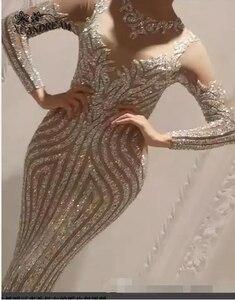 Image 1 - Formele Gown Voor Dinne Party Jurken Abiti Cerimonia Vestido Sereia Speciale Gelegenheid Gown Lange Mouwen Bling Bling Avondjurken