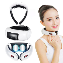Electric Pulse Back and Neck Massage Far Infrared Heating Relief Pain  Tool Health Care Relaxation magnetic therapy massager byriver electric jade stone 3 ball handheld ceramic projector massager with heating and vibrating massage far infrared ray