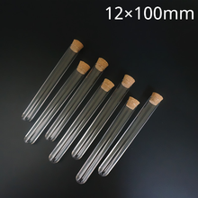 100pcs/lot 12x100mm Transparent Plastic Round Bottom Test Tube With Cork Stoppers Empty Scented tea Tubes