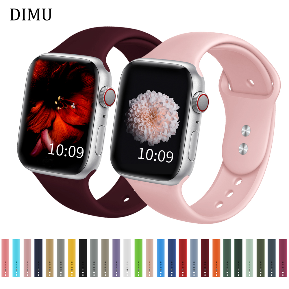 DIMU мягкий силиконовый спортивный ремешок для Apple Watch Series 5/4/3/2/1 38 мм 42 мм резиновый ремешок для iwatch Band Series 4 40 мм 44 мм Ремешки для часов      АлиЭкспресс