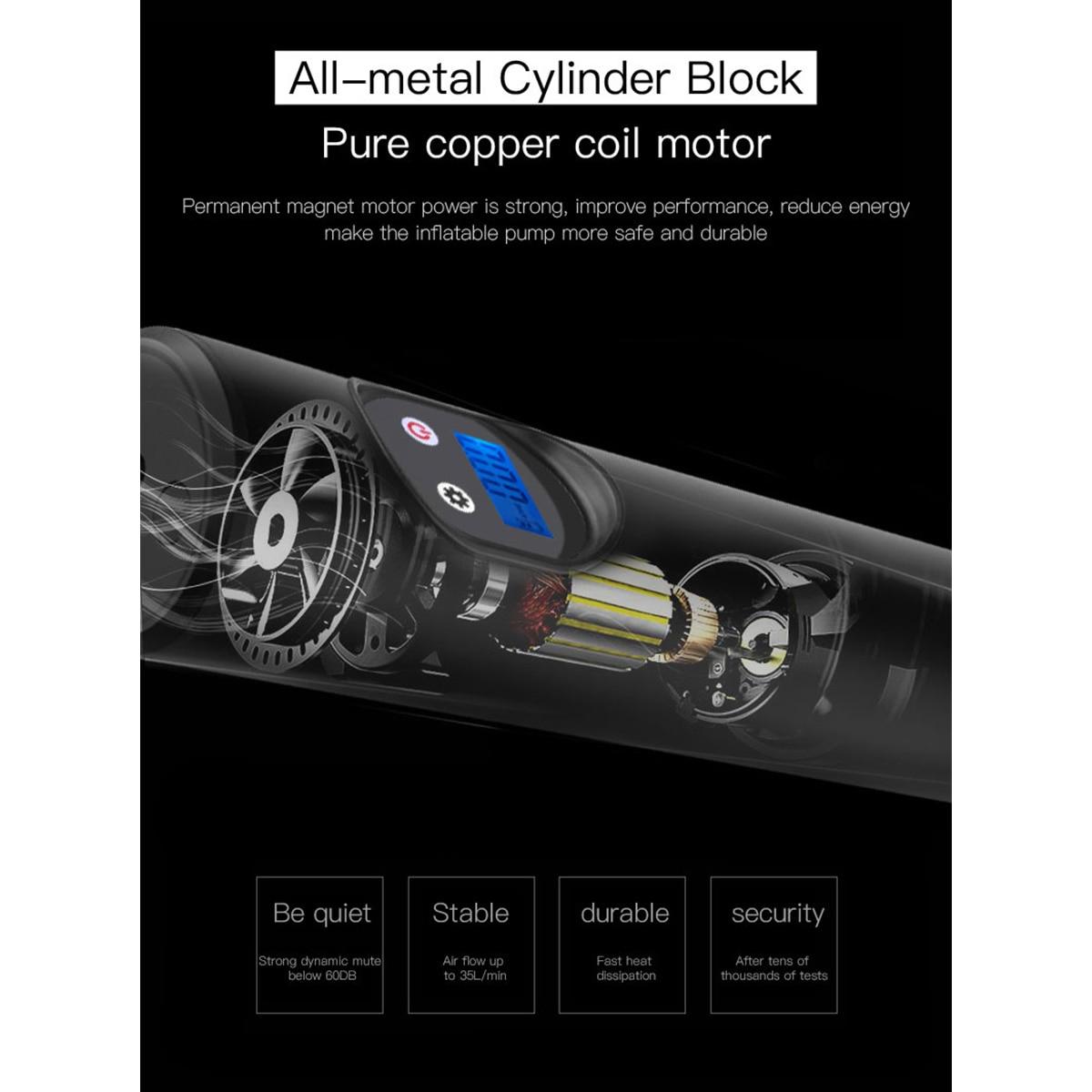 150PSI 6000mAh USB интерфейс портативный воздушный компрессор надувной насос с ЖК-дисплеем для автомобильных велосипедов шины шары кольцо для плав...