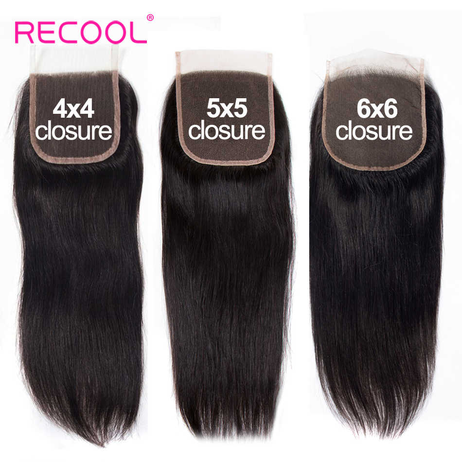 Recool Hd Transparent Lace Closure 4X4 5X5 6X6 Brazilian Straight Hair Closure 20-22 inch Remy Human Hair Swiss Lace Top Closure
