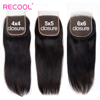 Recool Hd przezroczyste zamknięcie koronki 4X4 5X5 6X6 brazylijskie proste zamknięcie włosów 20-22 cali Remy ludzki włos szwajcarska koronka górne zamknięcie