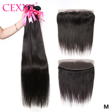 CEXXY Bundles With Frontal Straight Peruvian Hair Weave Bundles With 13x4 Frontal Swiss Lace Human Hair Extension Natural Color