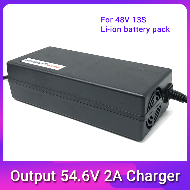 54.6V2A electric bike lithium polymer battery charger for 13S 48V li ion battery pack Scooter Charger Power Supply Charging
