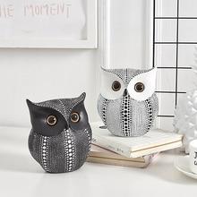 Фигурки животных в скандинавском стиле, минималистичные изделия, белая и черная сова, статуэтка из смолы, украшение для дома, миниатюрные ук...