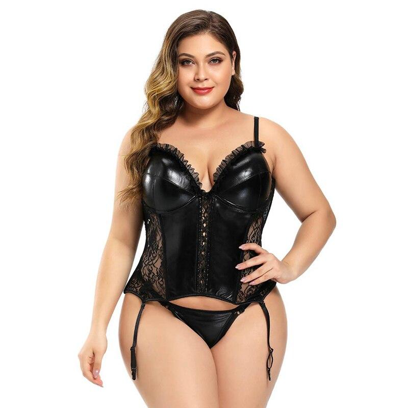 Leather Vest Corset Black Women Sexy Lace Burlesque Costumes Large Size Volants Korset Outfit Waist Trainer Shapewear 6XL AS3440