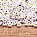 Золотое сердце акриловые Круглые бусины 4x7 мм белый с надписью «Love» Spacer Бусины для изготовления ювелирных изделий Diy ожерелье с подвесками б...