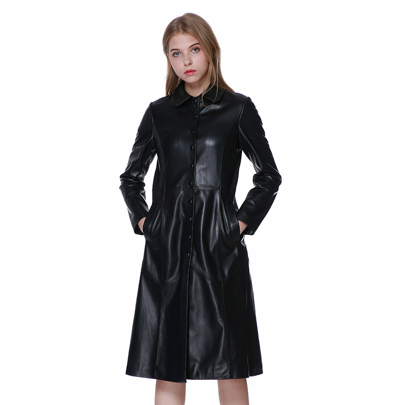 Free Shipping.Womens Casual Style Jacket,genuine Leather Coat.fashion Long Sheepskin Overcoat.femme Brand Quality Clothes