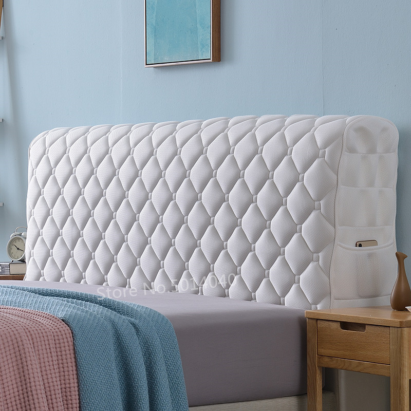 European fabric all inclusive bed cover solid wood bed anti collision head back cover curved dust