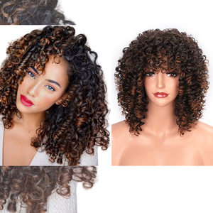Image 2 - ELEGANT MUSES Synthetic Afro Kinky Curly Wigs Short Curly Wig with Bangs for Black Women Mixed Brown Ombre Blonde