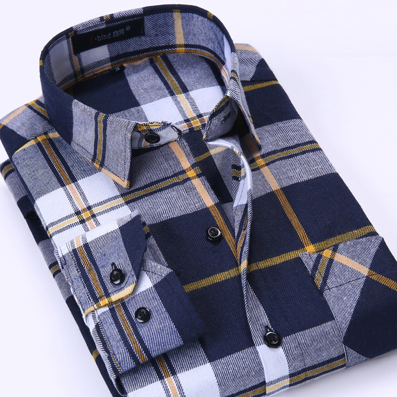 New Men's Plaid Flannel Shirt  Soft Comfortable Spring Male Slim Fit Business Casual Long-sleeved Shirts