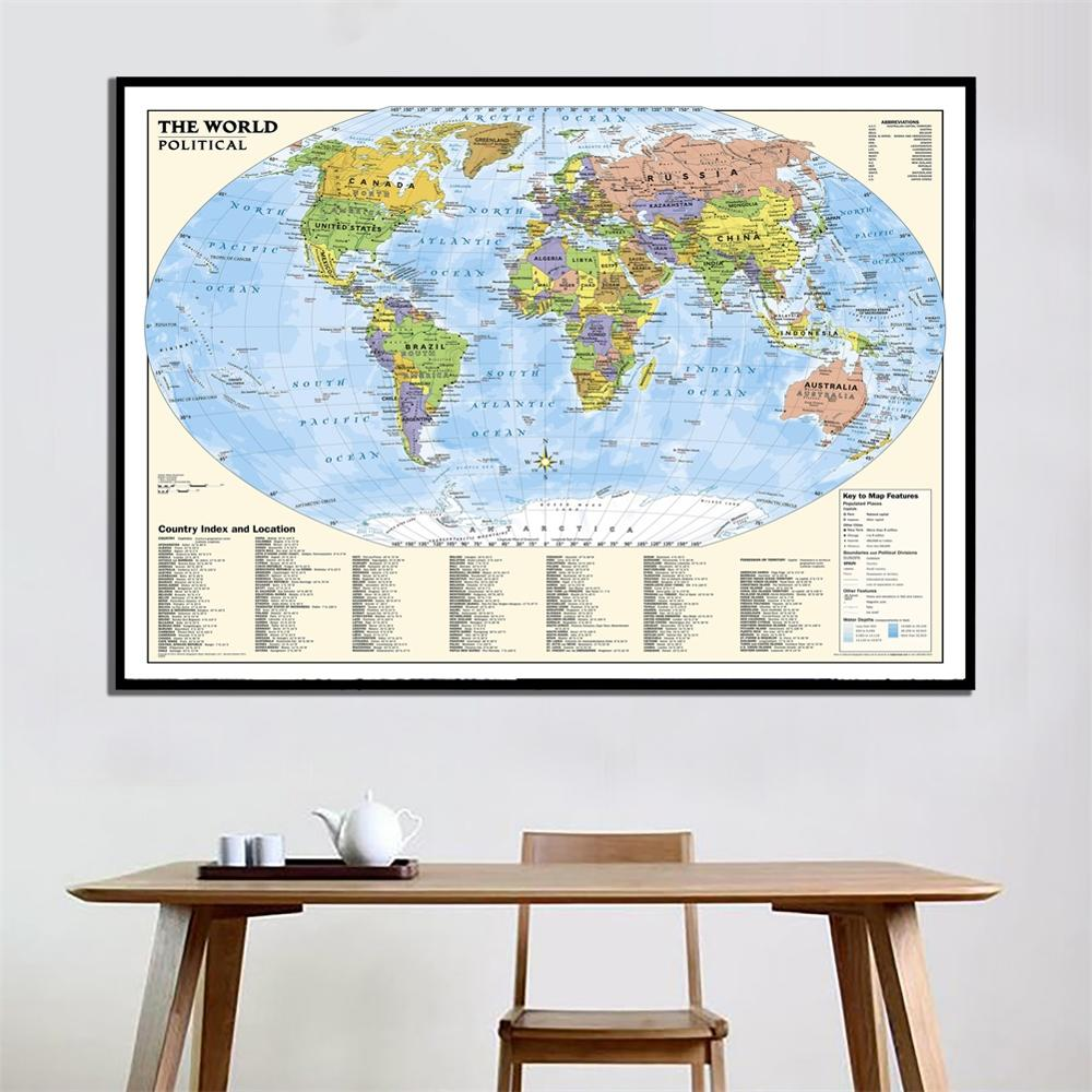 A2 Size The World Political Map High Denfetion Fine Canvas Wall Map With Country Index And Location For Home Office Decor