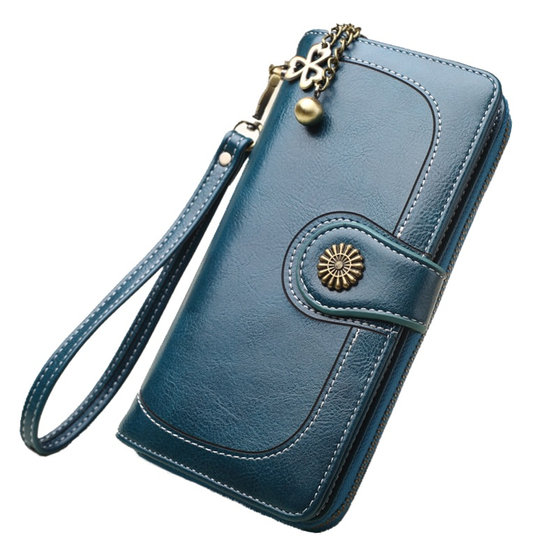 2020 Retro Oil Leather Long Purse Female Clutches Money Wallets Brand Design Women's Wallet Casual Cell Phone Card Holder Purse
