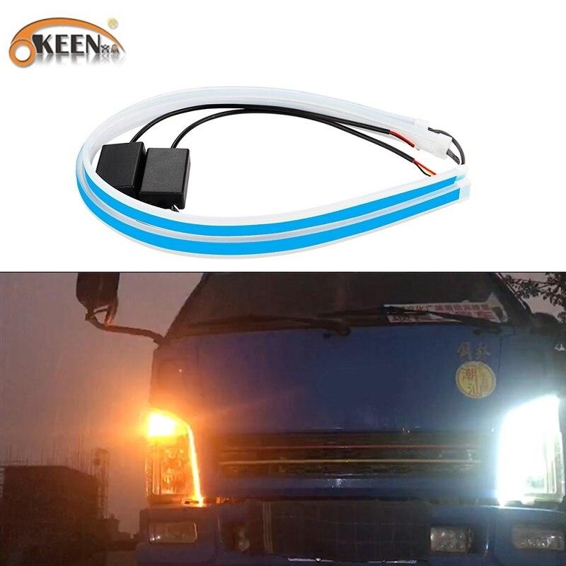 OKEEN 2 pièces 24V étanche Flexible universel camion Led DRL feux de jour coulant clignotants pour les lumières de voiture de camion
