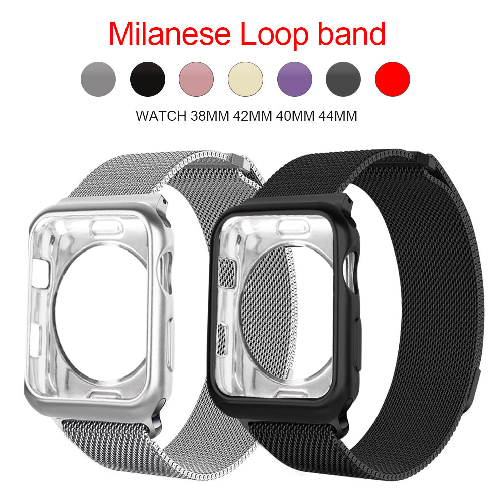 For Apple Watch Case + Band Iwatch 5 Strap 42 Mm 38 Mm Milan Stainless Steel Strap Bracelet Watch Apple Watch 4 3 21