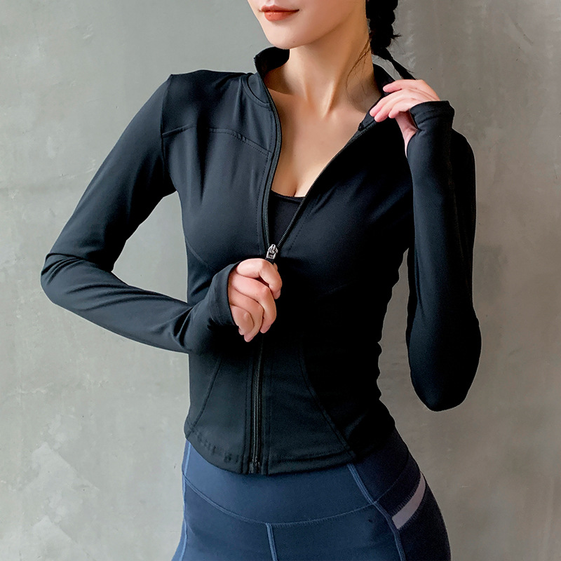 Women's tracksuit Slim Fit Long Sleeved Fitness Coat Yoga Crop Tops With Thumb Holes Gym Jacket Workout Sweatshirts
