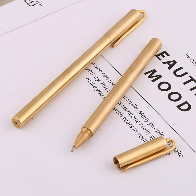 H 2019 Handmade Roller Ball Pen Retro Style Brass Signing Pens Stationery Writing Instruments With Clip Gel-ink Refill