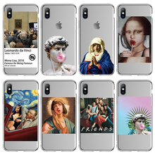 Moskado Transparent Phone Case For iPhone X XR XS Max Clear Van Gogh Art Painting Cases Venus Soft TPU Cover 7 8 6s 6 Plus Maria