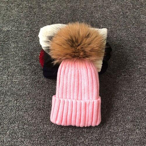 Брендовая зимняя женская шапка высокого качества, шапка бини из натурального меха енота, женские шапки с помпоном, Женская Повседневная шапка для девочек - Цвет: Розовый