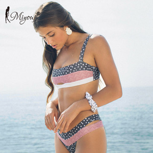 Miyouj Push Up Bikinis Female 2019 New Biquini Floral Swimwear Women Bathing Suit Dot Swimsuit Women'S Beach Bandeau Bikini Set(China)