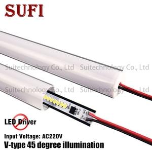 Image 1 - 4 stücke AC220V LED bar licht V form Dreieck aluminium profil LED Starren Streifen mikly/Transparent abdeckung Für Schaufenster schrank Küche