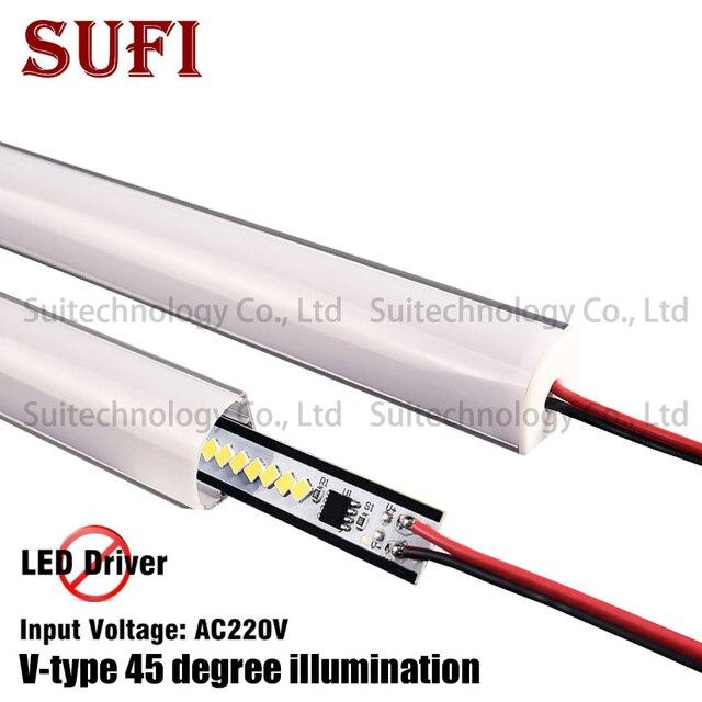 4 stücke AC220V LED bar licht V form Dreieck aluminium profil LED Starren Streifen mikly/Transparent abdeckung Für Schaufenster schrank Küche