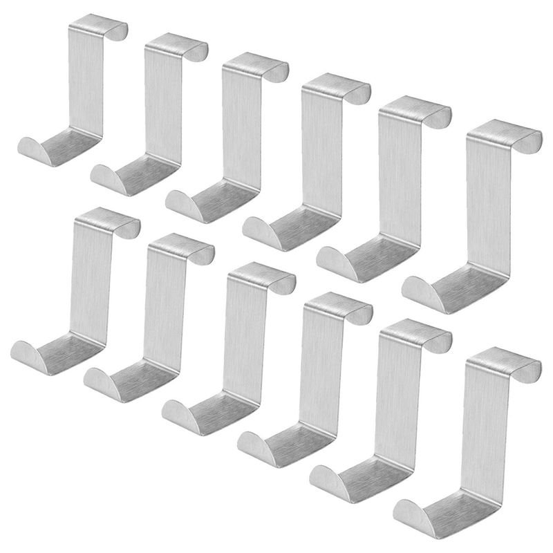 Pack Of 12 Stainless Steel Over Door Hooks Hanger Over Cupboard Hooks Drawer Hook For Office And Kitchen (2cm To 4.5cm Door Or D