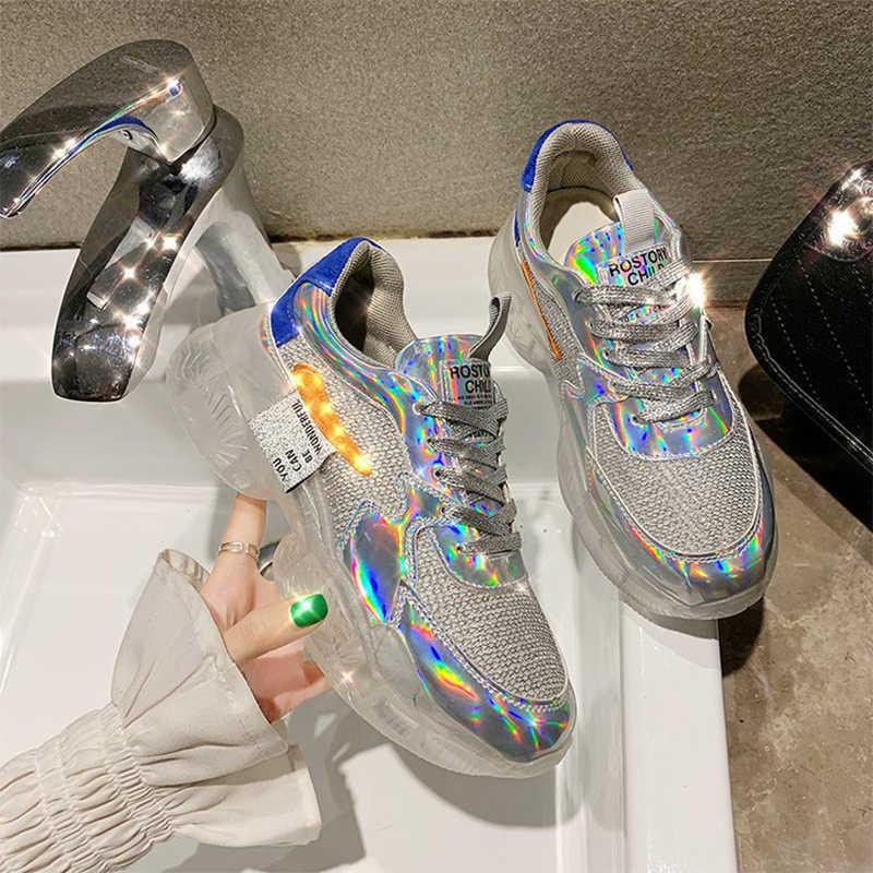 מותג אביב מגמת נשים שקוף סניקרס Harajuku גבירותיי פלטפורמת נעלי גומי לייזר נעליים יומיומיות הניצוץ ריצה הנעלה