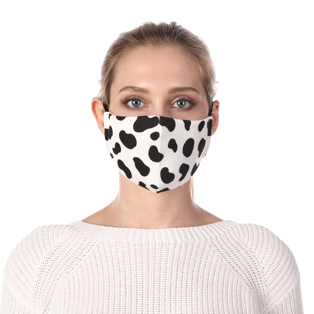 Zohra Dairy Cow Printing Reusable Protective PM2.5 Filter Mouth Mask Anti Dust Mask Windproof Adjustable Face Masks