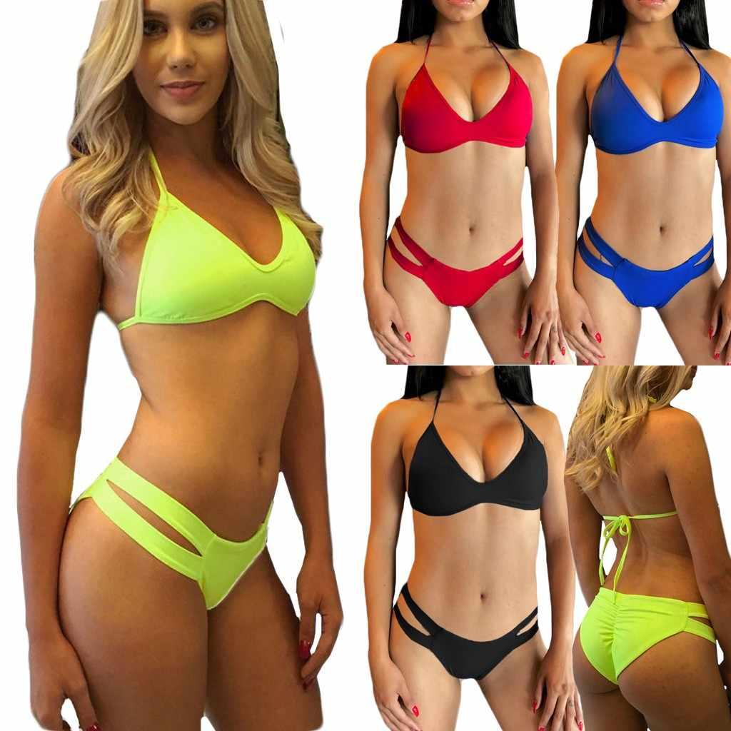 مثير ملابس السباحة النساء الدانتيل يصل بيكيني ضمادة لباس سباحة عارية الذراعين البيكينيات مجموعة شاطئ ملابس السباحة Biquini Mujer 2020 حجم كبير S-3XL