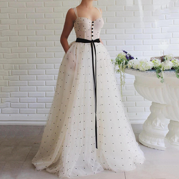 Eightree 2020 Fairy Prom Dresses with Pocket Spaghetti Appliqued Tulle Evening Dress A Line Formal Party Gown Robe De Soiree - discount item  33% OFF Special Occasion Dresses