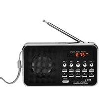 New L 938 Mini taşınabilir dijital FM radyo 3W çıkış gücü/1.5 inç ekran/destek USB sürücüsü/TF /SD/MMC kart/AU
