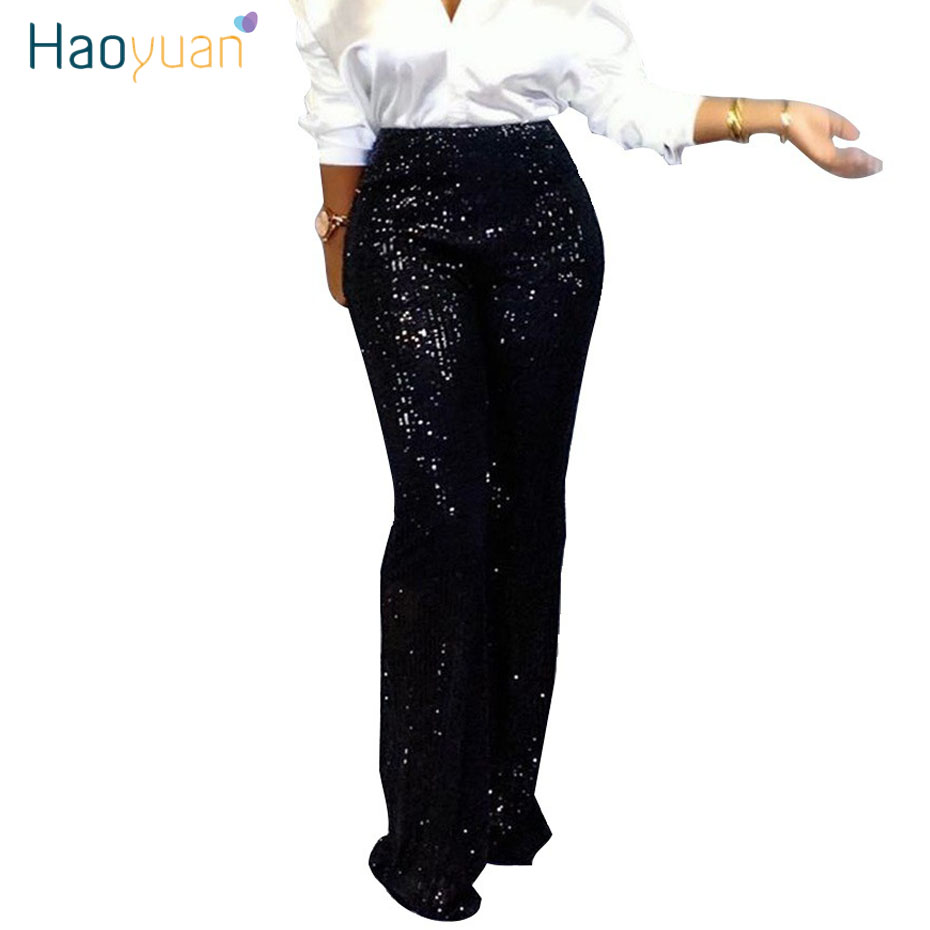 HAOYUAN Sliver Black Sequin   Pants   Women Rave Festival Fashion Trousers Autumn Casual Club Outfits High Waist   Wide     Leg     Pants