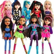 Novo 28cm original moda figura de ação original bratzdoll cabelo loiro pele preta menina boneca melhor presente para a criança