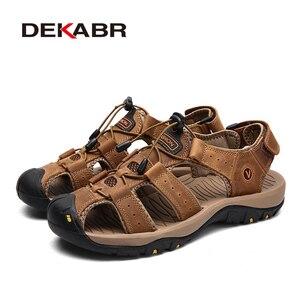 Image 3 - DEKABR חדש זכר נעלי עור אמיתי גברים סנדלי קיץ גברים נעלי חוף סנדלי איש אופנה חיצוני מקרית סניקרס גודל 48