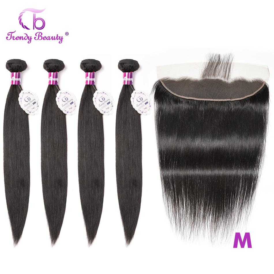 Trendy Beauty 13x4 Lace Frontal With Bundles Brazilian Straight Human Hair Bundles With Lace Frontal Middle Ratio Non-Remy 5pcs