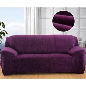 Image 5 - Housse de canapé en peluche Stretch couleur unie épaisse housse de canapé pour salon animaux de compagnie chaise housse housse de coussin canapé serviette 1PC