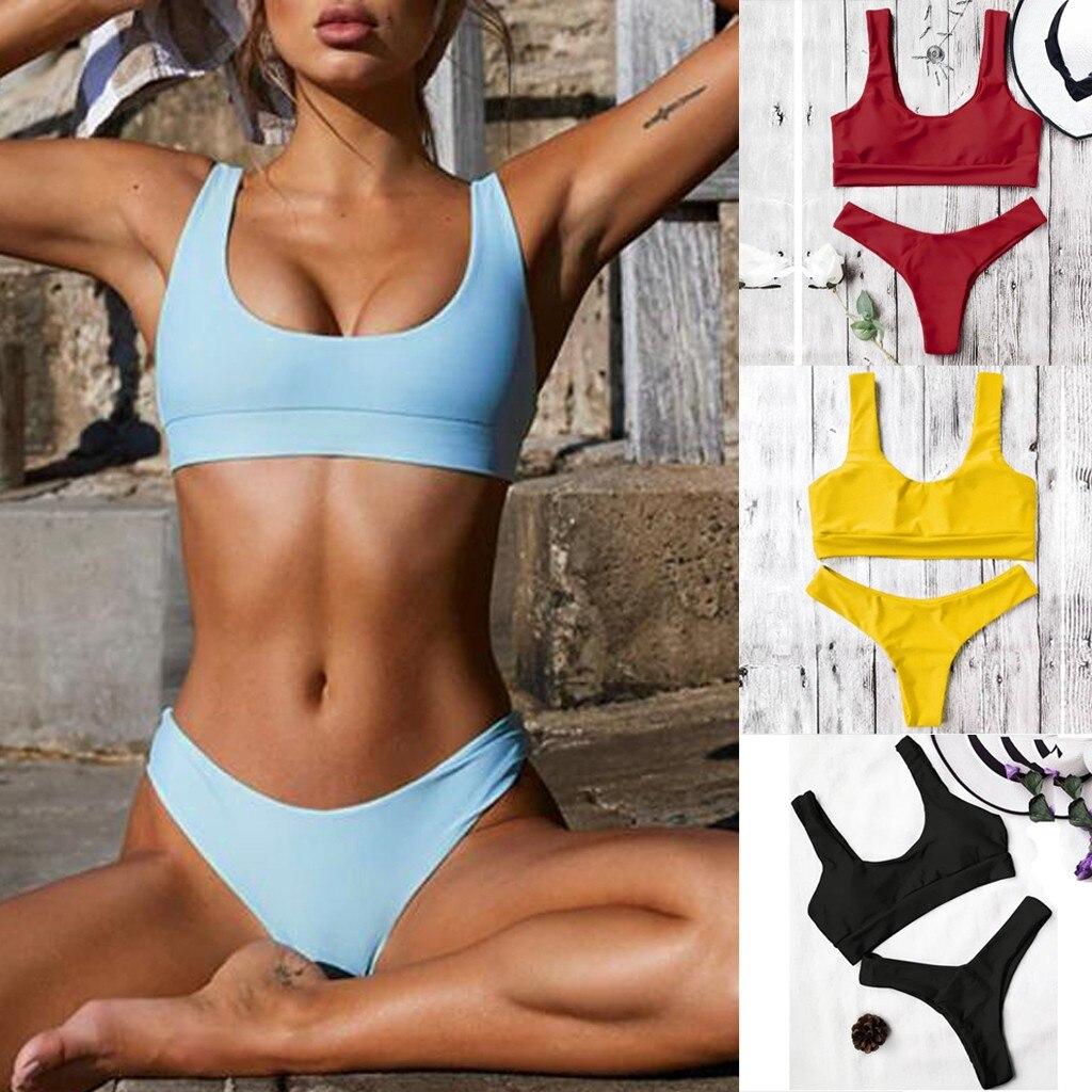 Fashion Women Sexy Bikini Pure Color Push-up Padded Sexy Swimsuit Plus Size Beachwear Two Piece Bikini Купальник Женский
