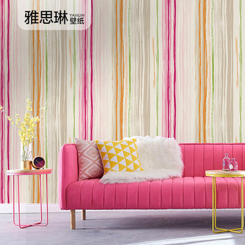 High quality nordic style mediterranean striped wallpaper bedroom background wall living room paper modern simple fashion