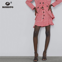 ROHOPO Autumn Ruffled High Waist Ladies Pink Houndstooth British Academy Mini Skirt Female Holidays Falda #9560