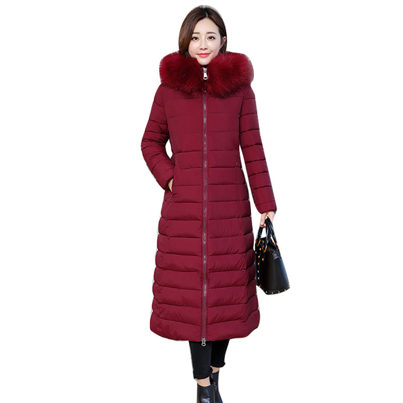 Hooded Winter Down Coat Jacket Long Warm Slim Women Cotton padded Casaco Feminino Abrigos Mujer Invierno