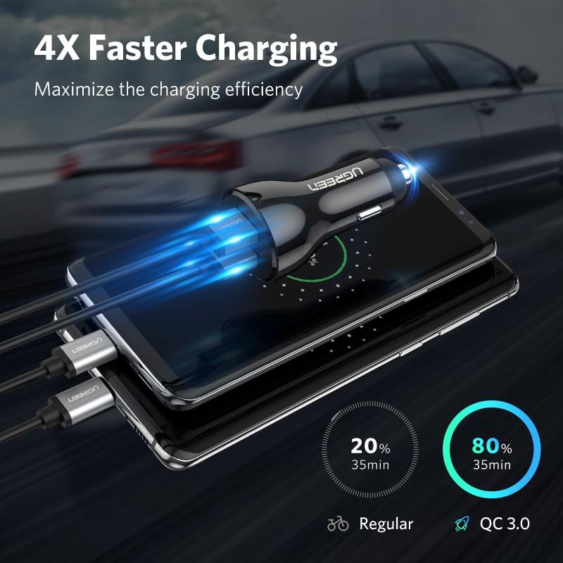 Ugreen Pengisian Cepat 3.0 36 W QC Charger Mobil untuk Samsung S10 9 - Aksesori dan suku cadang ponsel - Foto 2